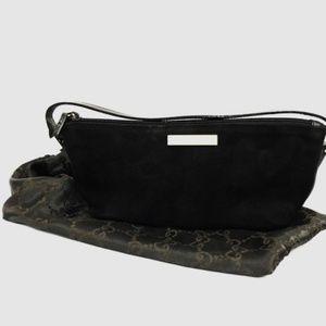 Gucci Alondra Boat Pochette Bag Black Suede
